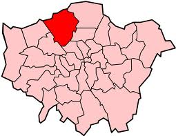 Image shows map of London with Barnet highlighted.