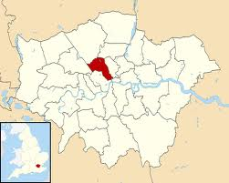 Image shows map of London with Camden highlighted