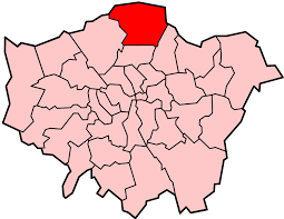 Image shows a map of London with Enfield highlighted.