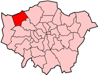 Image shows a map of London with Harrow highlighted