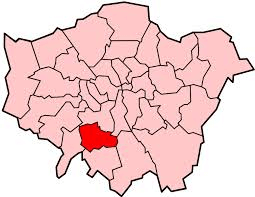 Image shows map of London with Merton highlighted
