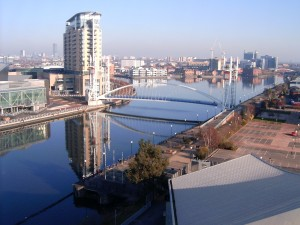 Salford_Quays_from_south_bank_of_MSC,_2008